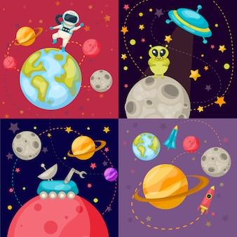 Vier ruimte icon set