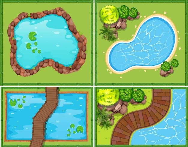 Vier scène van zwembad en vijver