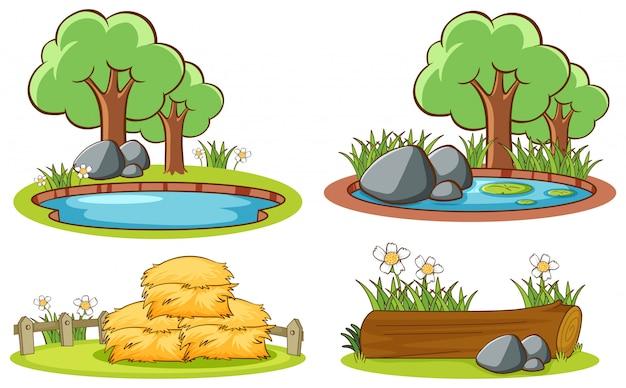 Vier scènes met de natuur