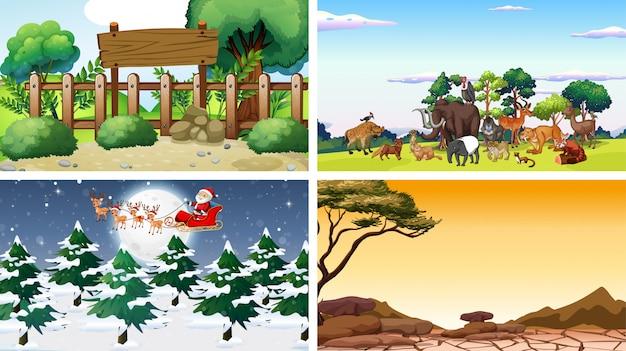 Vier scènes met dieren en parken