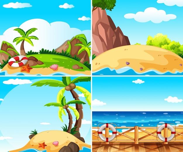 Vier scènes met eiland en oceaan
