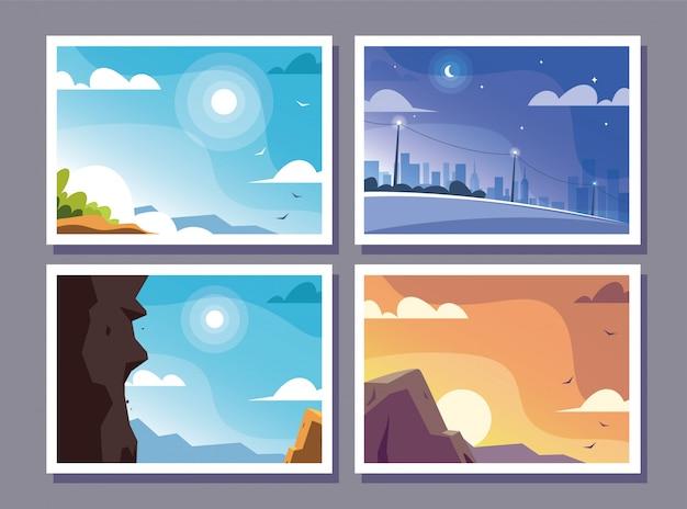 Vier scènes met natuurlandschap en prachtige velden