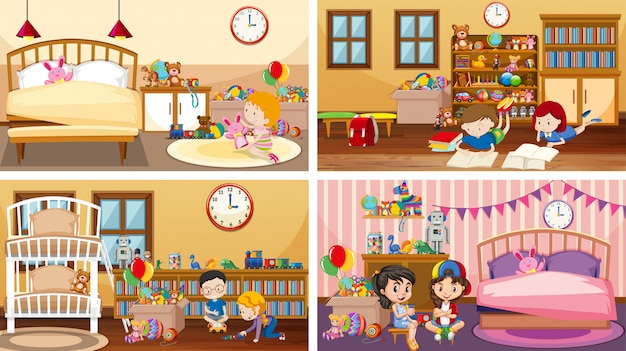 Vier scènes met spelende kinderen in verschillende kamers