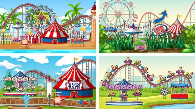 Vier scènes met veel attracties in de kermis