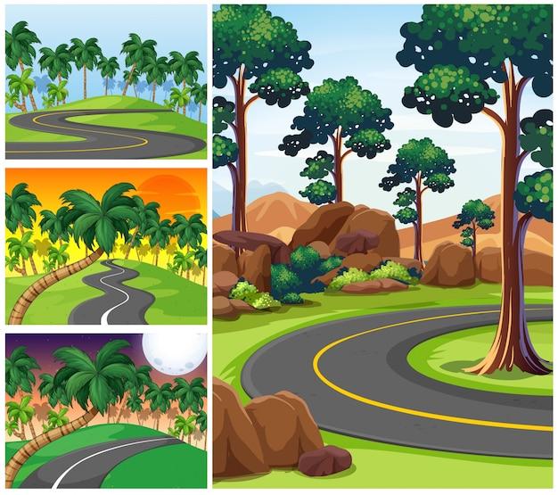 Vier scènes met wegen en bos