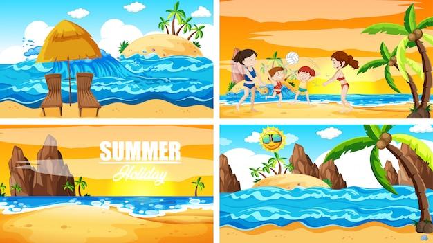 Vier scènes met zomer op het strand
