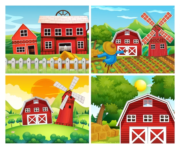 Vier scènes van boerderijen
