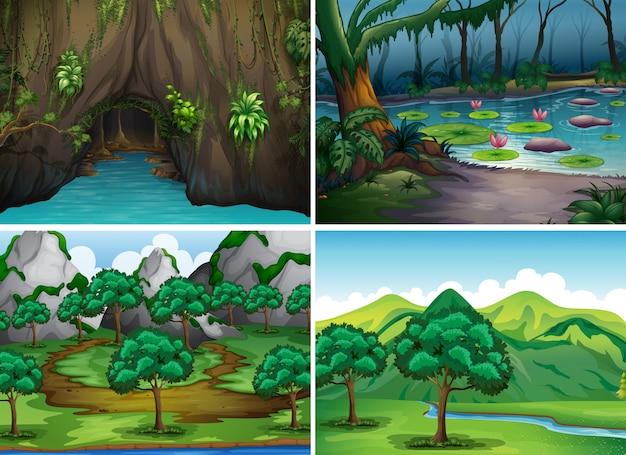 Vier scènes van bossen