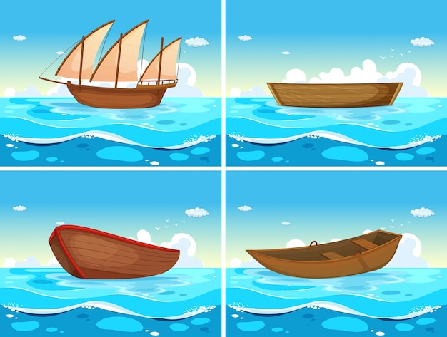 Vier scènes van boten in de oceaan