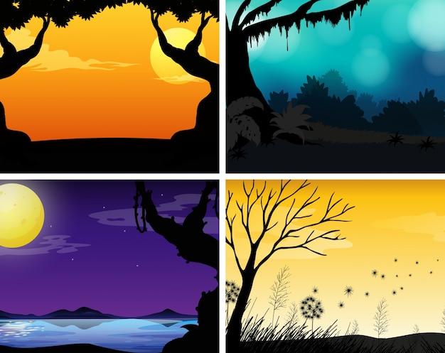 Vier scènes van de natuur met kleurrijke achtergrond