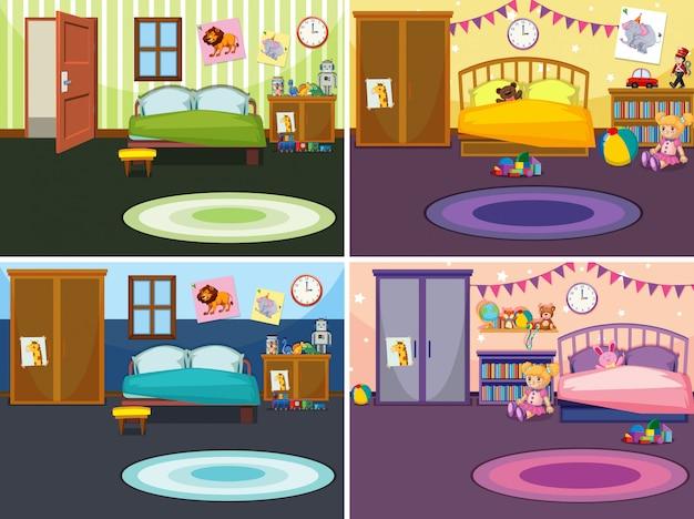 Vier scènes van de slaapkamer met verschillende illustraties