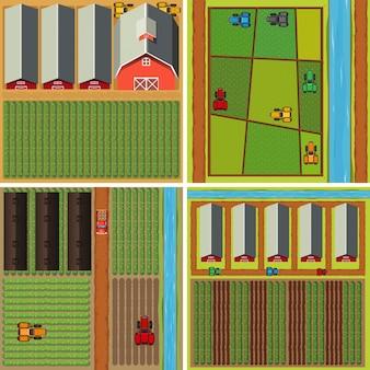 Vier scènes van het boerenerf vanuit bovenaanzicht