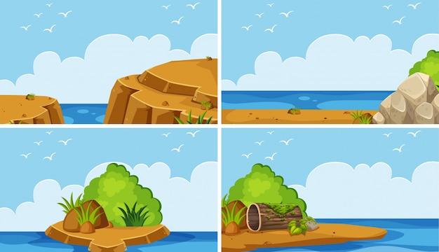 Vier scènes van oceaan bij dagtijd