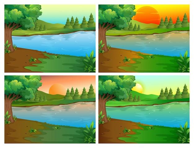 Vier scènes van rivier en bos