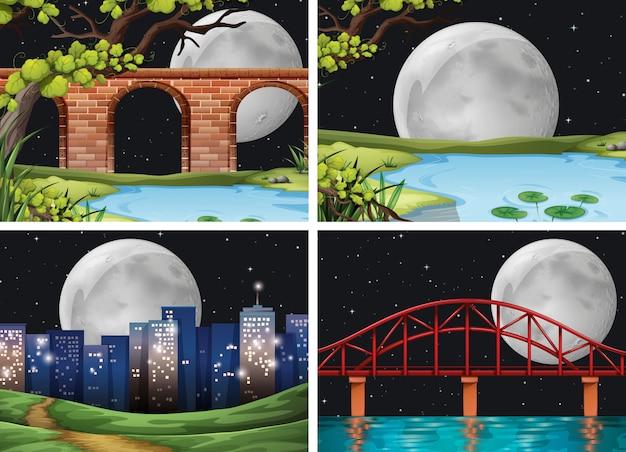 Vier scènes van stad op backgorundreeks van de fullmoonnacht