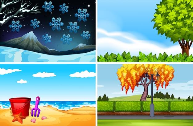 Vier scènes van verschillende seizoenenachtergrond