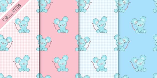 Vier schattige muizen naadloze patronen instellen