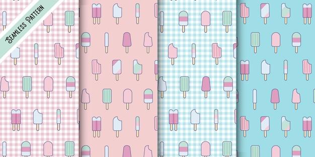Vier schattige pastel kleuren kawaii popsicle naadloze patronen set