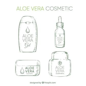 Vier schetsen van aloë vera cosmetica