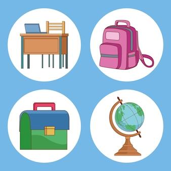 Vier schoolbenodigdheden