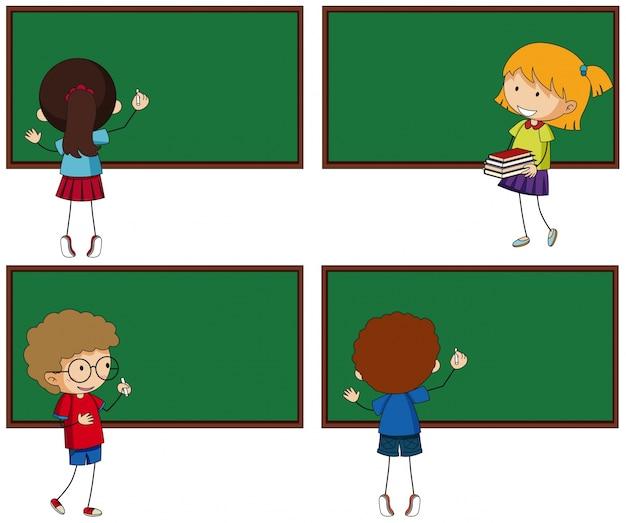 Vier schoolborden en studenten