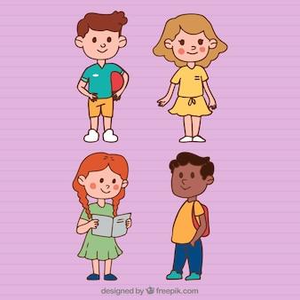 Vier schoolkinderen