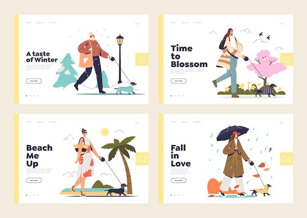 Vier seizoenen activiteiten websjabloon ingesteld met vrouwtjes wandelen met hond buiten in de winter, zomer, lente en herfst