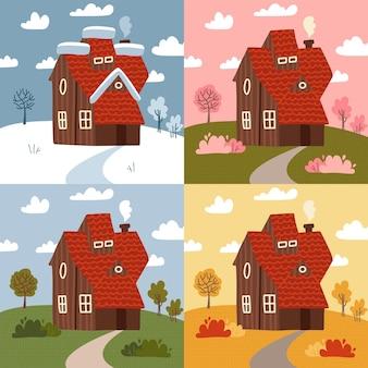 Vier seizoenen - reeks vlakke stijlconcepten. moderne afbeeldingen met een landelijk gebouw en natuurlandschappen. zomer, lente, winter, herfstdelen van het jaar, weertypen.