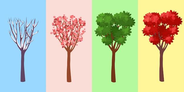 Vier seizoenenboom. winte. voorjaar. zomer. herfst. vector illustratie.
