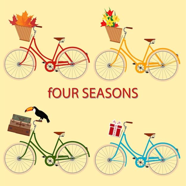 Vier seizoenenkaart met fietsen symboliseerde de zomer