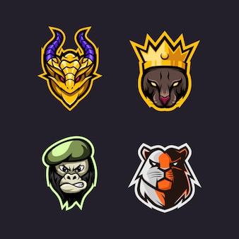 Vier set eenvoudig hoofd esport logo premium