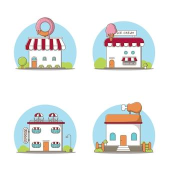 Vier sets winkel vectorillustraties, coffeeshop, donutwinkel, ijssalon, gebraden kippenwinkel. vectorpremie