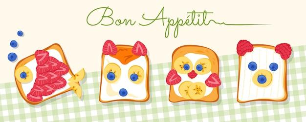 Vier smakelijke toastjes met vis, vos, kip, beer, gemaakt door liefdevolle en creatieve ouders voor hun kinderen of geliefden.