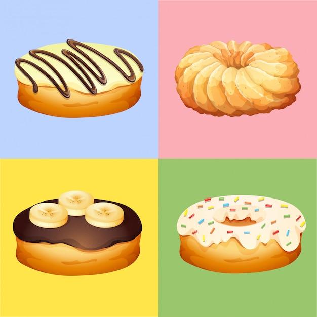 Vier smaken van donuts
