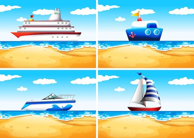 Vier soorten schepen op zee
