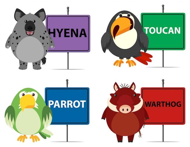 Vier soorten wilde dieren en tekens