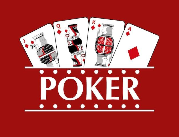 Vier spelende pokervaandel van diamantkaarten