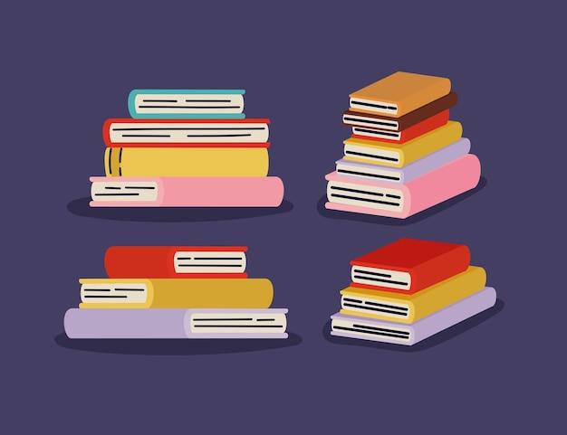 Vier stapels boeken