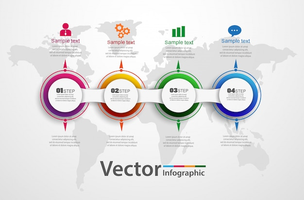 Vier stappen abstract infographics aantal optiesjabloon