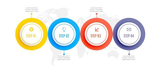 Vier stappen circulaire zakelijke infographic sjabloonontwerp