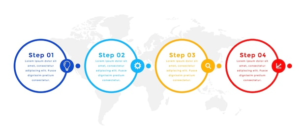 Vier stappen cirkel infographic sjabloonontwerp