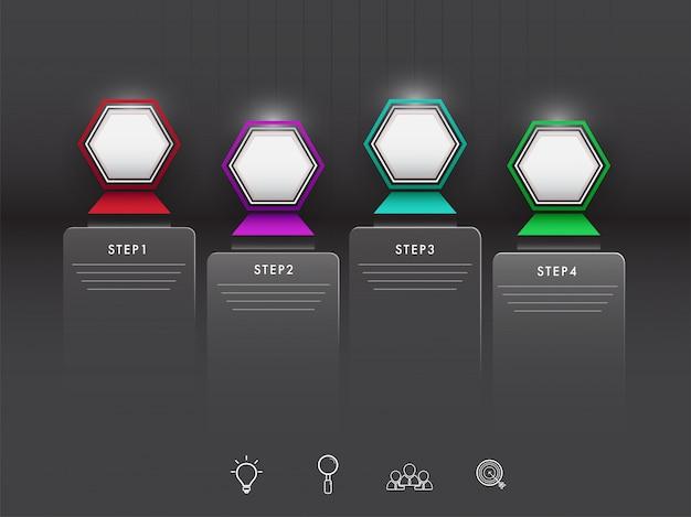Vier stappen infographic elementen met websymbolen op zwarte backgr