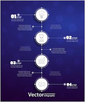 Vier stappen infographics met cirkels