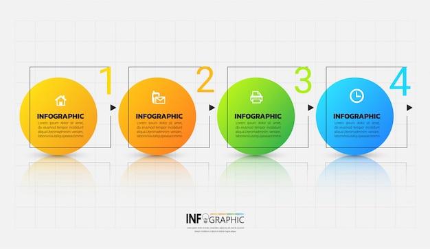 Vier stappen infographics-sjabloon