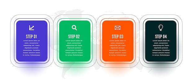 Vier stappen moderne infographic sjabloon