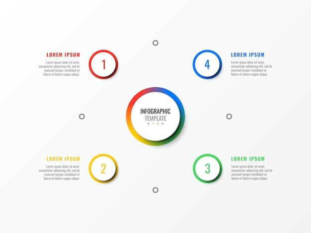 Vier stappen ontwerpsjabloon lay-out infographic met ronde 3d-realistische elementen.