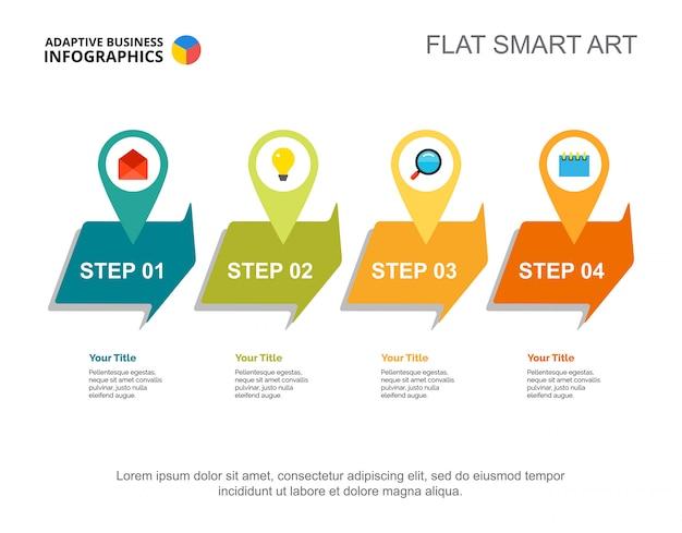 Vier stappen processchema. bedrijfsgegevens. workflow, opstarten, ontwerp.