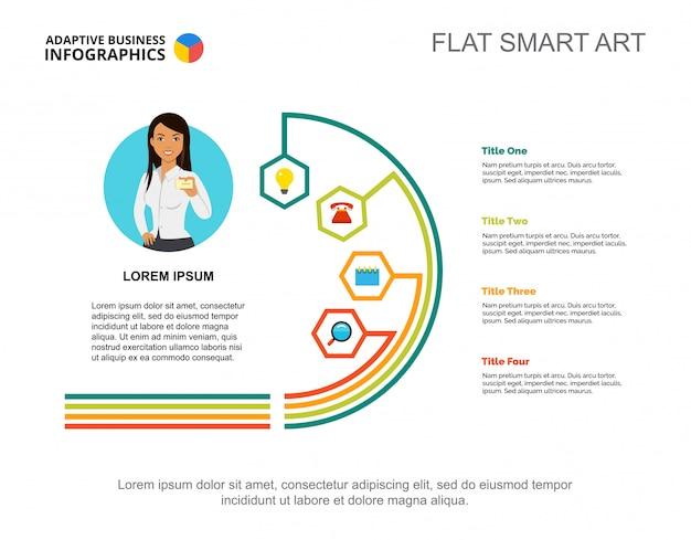 Vier stappen processchema-sjabloon voor presentatie. visualisatie van bedrijfsgegevens.