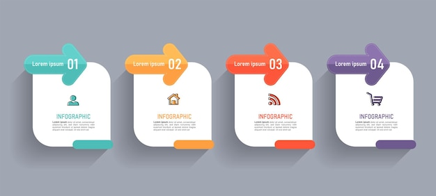 Vier stappen tijdlijn infographics ontwerpsjabloon