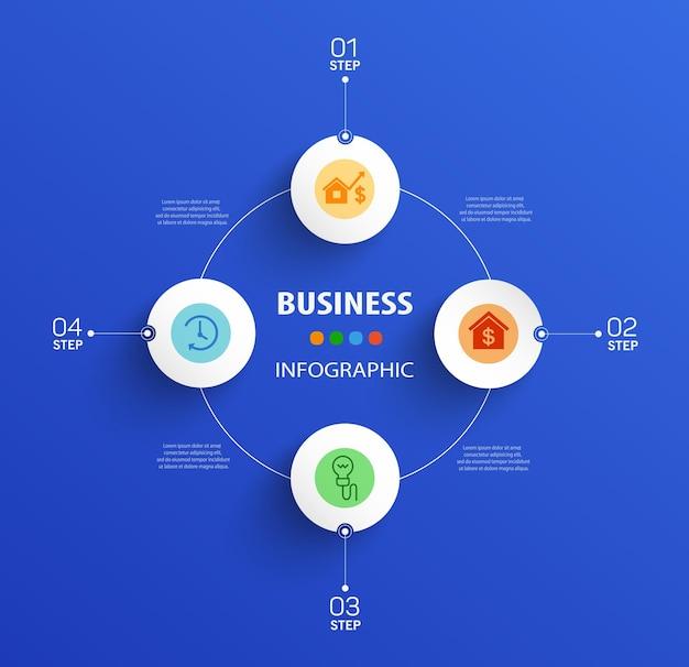 Vier stappen zakelijke infographic sjabloon